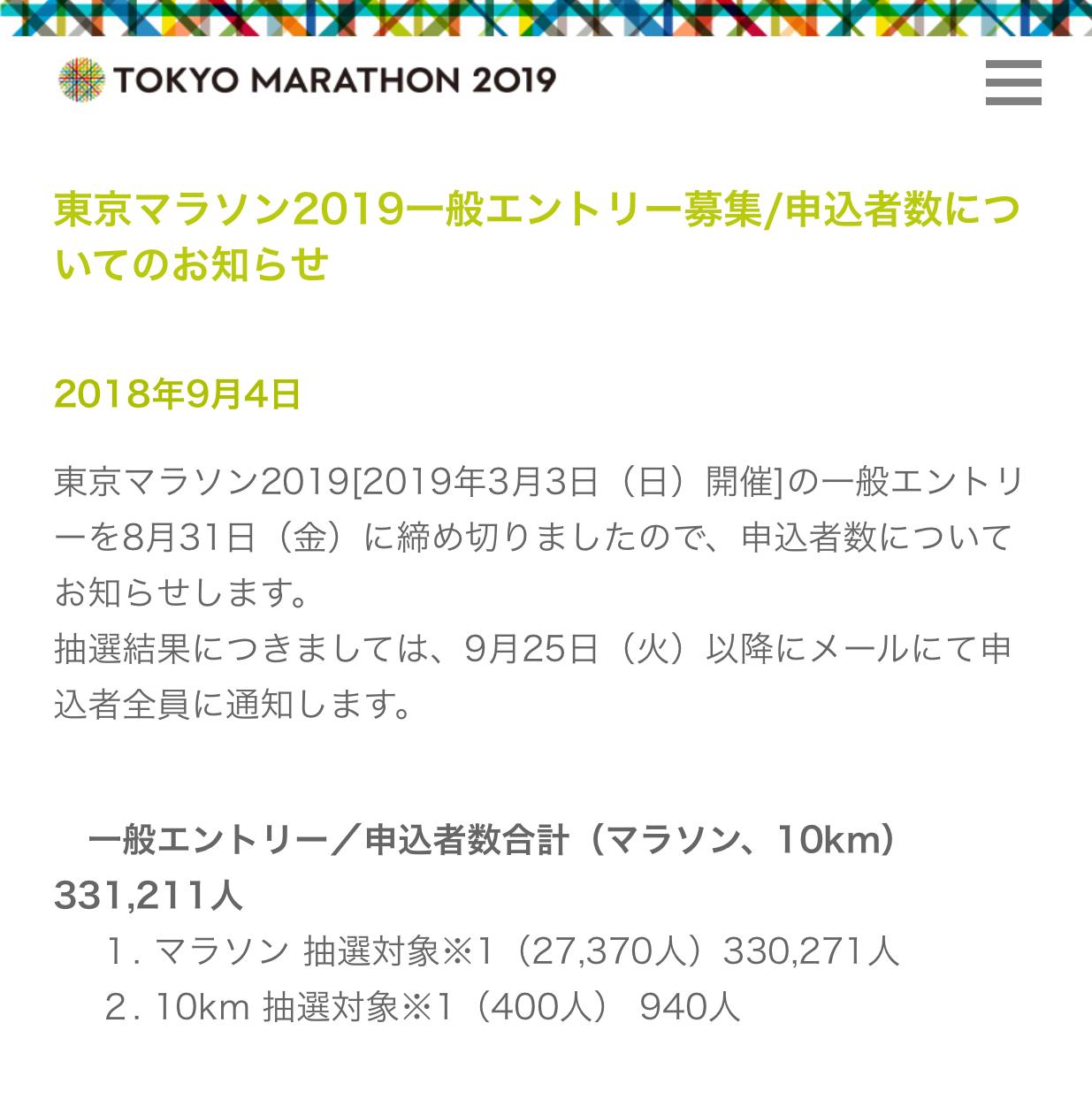 東京マラソン2018エントリー