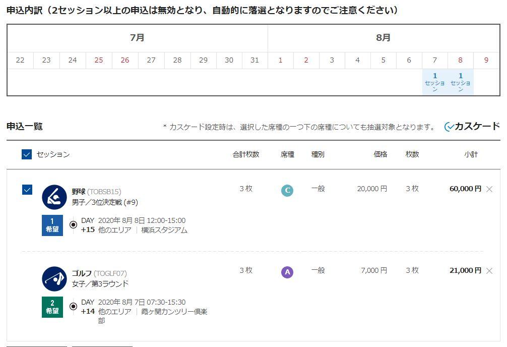 東京オリンピック2次抽選